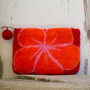 Wool Felted Pouch— Orange, Red, Pink